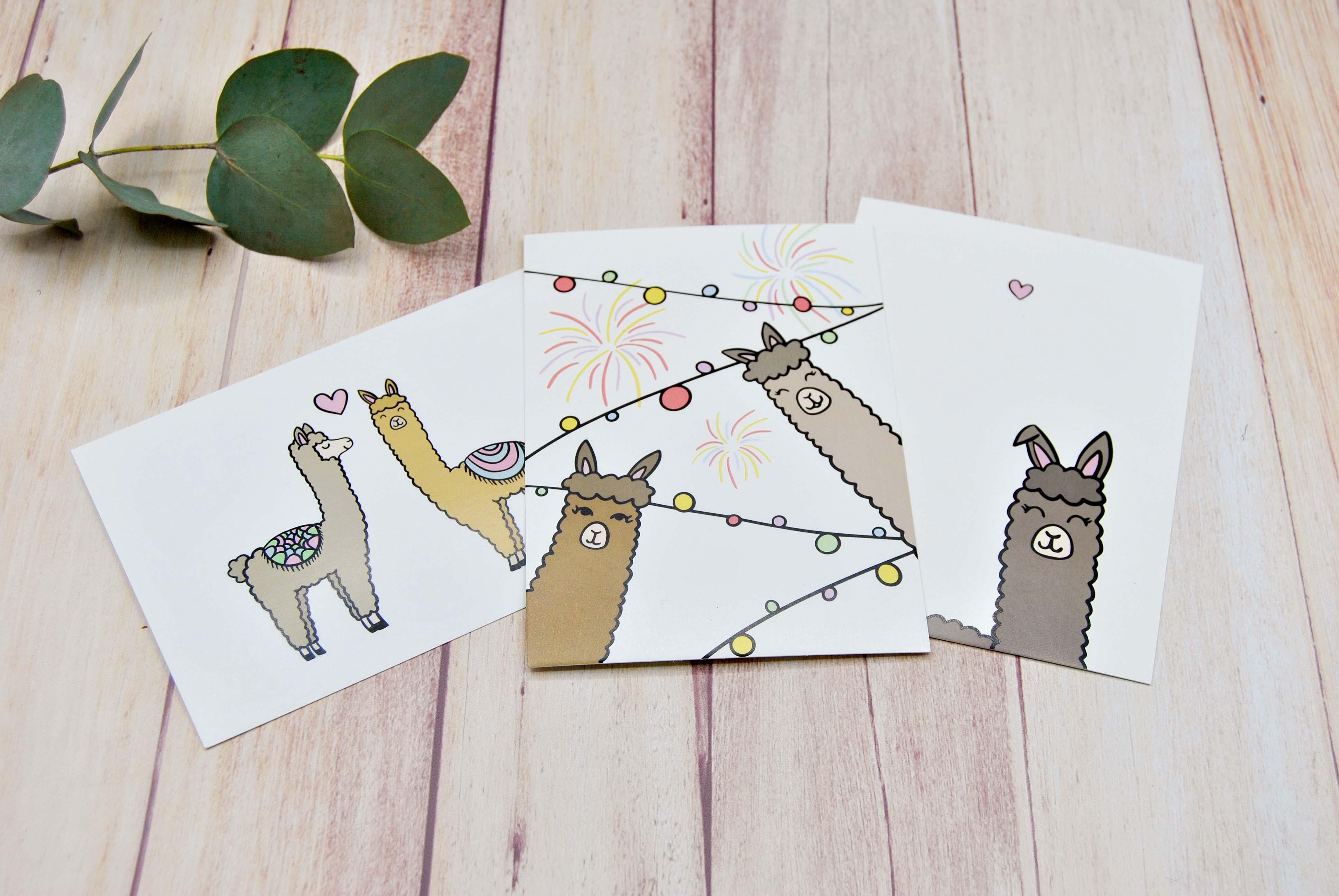Grußkartenset Alpaka