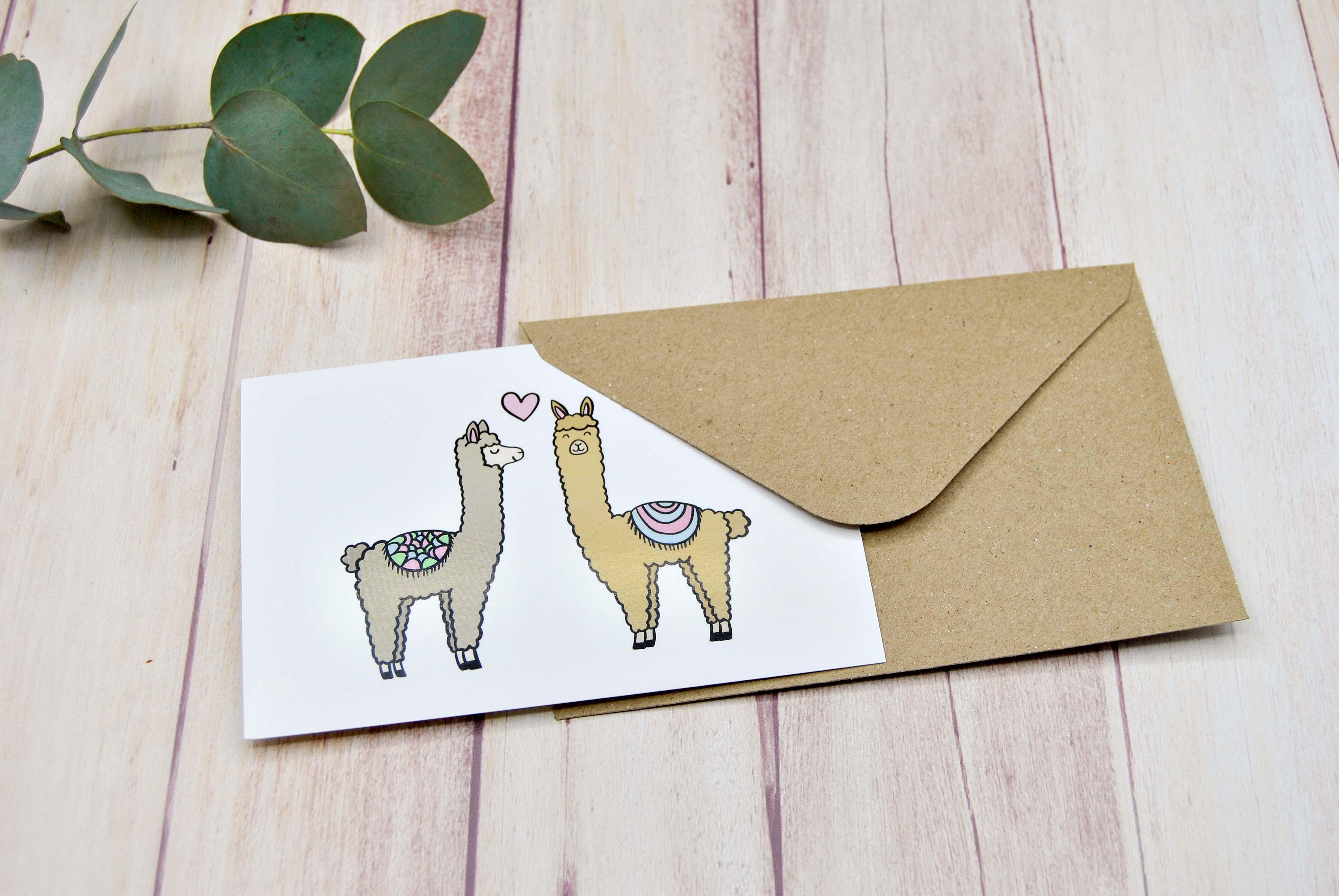 Grußkarte Alpaka