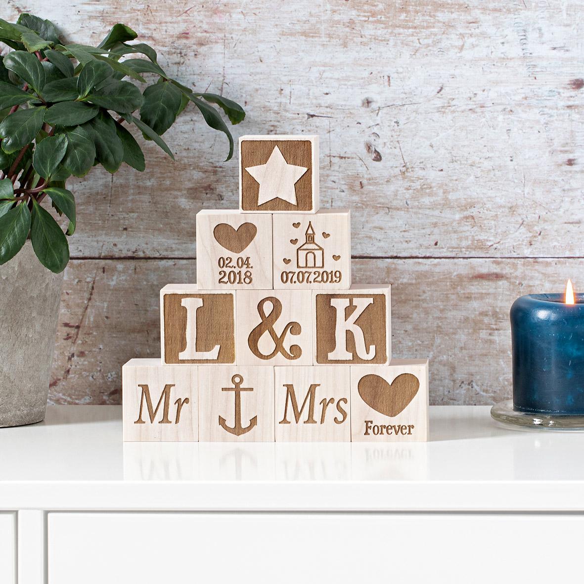 Holzwürfel Hochzeit