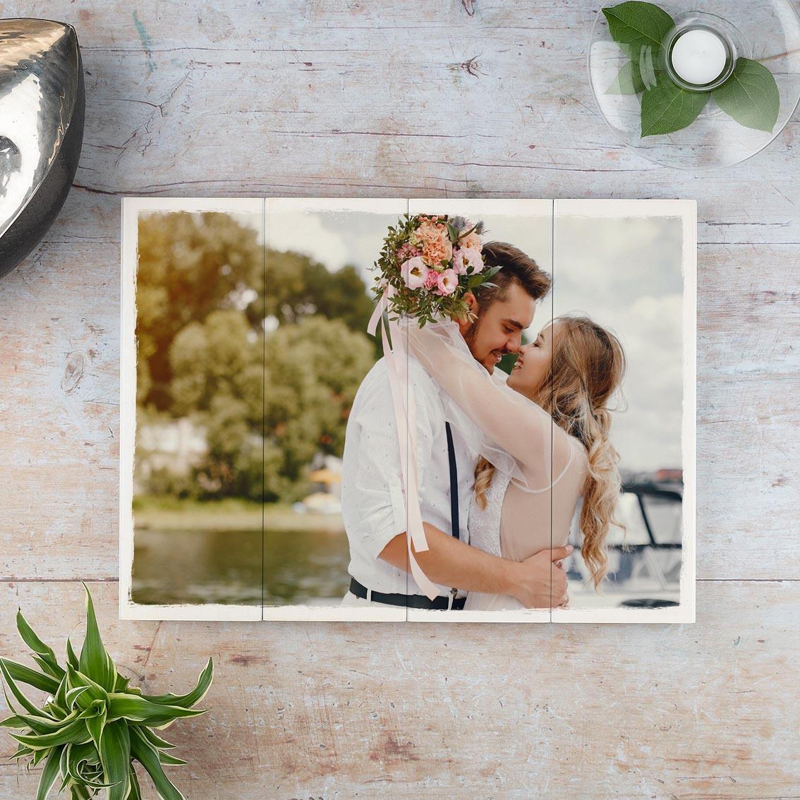 Foto auf Holz zur Hochzeit